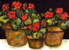 three geraniums ..water color  artist Kate Larson Geraniums Garden, Red Geraniums, Garden Pots, Potted Geraniums, Potted Plants, Indoor Flower Pots, House Flags, Clay Pots, Watercolor Art