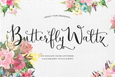 Introducing Butterfly Waltz! A new-fashioned hand-lettered calligraphy style script. Create your own unique text style with an authentic hand-lettered look on invitations, envelopes, stationary, logos, and more! 4 files of additional decorative glyphs, many additional common letter combinations, and even the multi-lingual glyphs are all decorated. Now Available in Russian!