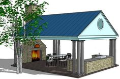 Sort of what I want, of course that is a pizza oven there in the fireplace and the roof would have solar panels! Don't really like the pillars, maybe they could be brick? Outdoor Kitchen Design with Roof