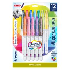 As you pick up your back-to-school supplies, make sure to check out these stylish pens that will make writing notes more fun. Brush Markers, Marker Pen, Erasable Highlighters, Pilot Pens, Gel Ink Pens, Cute School Supplies, Pen Sets, Ink Color, Colors