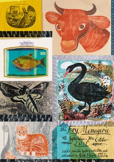 Promotional poster by Mark Hearld for 'The Fry Menagerie' exhibition he curated at The Fry Gallery, Saffron Walden, Essex Poster Cars, Poster Sport, Poster Retro, David Carson, Exhibition Poster, Museum Exhibition, Cute Illustration, Graphic Design Illustration, Textiles