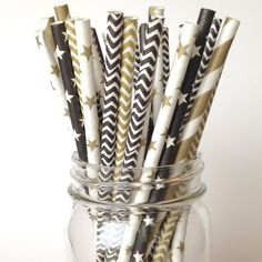 Paper Tableware - Happy New Year Party Straws Cocktail Party by Twigsandtwirlsllc (($))