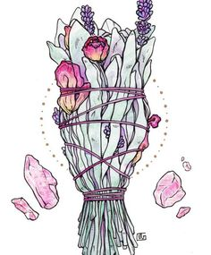 Rose Drawing Love Smudge Stick, Art Print - A smudge stick with the intention of love. Features white sage, rose, lavender and rose quartz. Neue Tattoos, Witch Art, Smudge Sticks, Witch Aesthetic, Book Of Shadows, Art Design, Watercolor Art, Watercolor Portraits, Watercolor Landscape