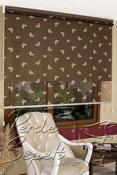 İkili Perde(Ön Krem Kelebek Desenli Acı Kahve Deluxe Dantella Arka Acı Kahve Transparan Güneşlik Stor Perde)