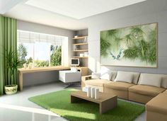 Trendy home design drawing house plans ideas Living Room Green, Rugs In Living Room, Living Room Designs, Living Room Decor, Painted Bedroom Furniture, Green Furniture, Home Interior Design, House Design, Decoration