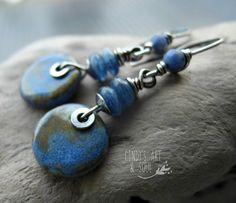 Blue Stone Earrings  Handcrafted Ceramic by ArtandSoulJewelry