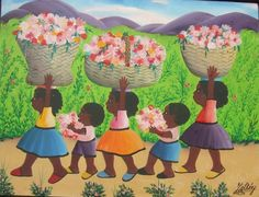 """Five Haitian children carrying baskets and armfuls of flowers down a dirt road. Art, Gallery of West Indian. """"Chery, Jacques-Richard - Haiti - Ref# JC 1."""" Gallery of West Indian Art, www.galleryofwestindianart.com/products/chery-jacques-richard-haiti-ref-jc-1."""