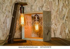 Warm light wooden background bulbs