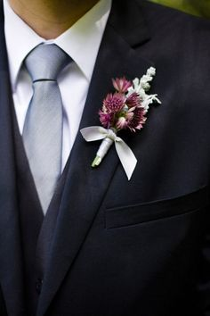 purple wedding flower boutonniere, groom boutonniere, groom flowers, add pic source on comment and we will update it. www.myfloweraffair.com can create this beautiful wedding flower look.