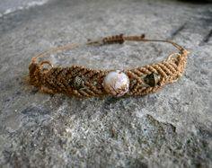 Bracelet en macramé marron clair réglable : Bracelet par stonanka