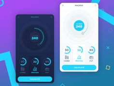 9 cutting-edge web design trends for 2018. A colorful app design by Masum R. for mobile nutrition tracking. #2018designtrends #graphicdesigntrends #appdesigntrends