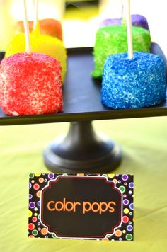 Marshmellow color pops for the crayon party