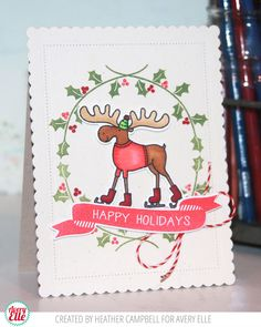 Avery Elle: A Cute Ice Skating Moose | happy holidays by Heather Campbell