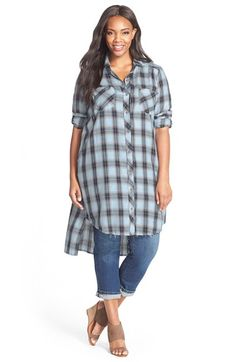 Democracy Lace-Up Back Plaid Tunic (Plus Size) available at #Nordstrom