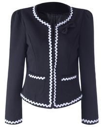 Elegant Women's Blazer with Bowknot - Black