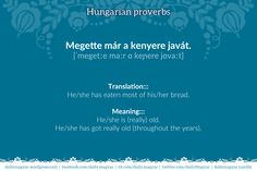 Megette már a kenyere javát. [ˈmegetːe maːr ɑ keɲere jɑvaːt]  Translation:::  He/she has eaten most of his/her bread. || Meaning:::  He/she is (really) old. | He/she has got really old (throughout the years). ||  megenni – to eat something all; the whole thing || enni – to eat || már – already (prior to some time); yet (in some questions) || kenyér – bread || (valaminek) a java – the biggest/best part of (something)
