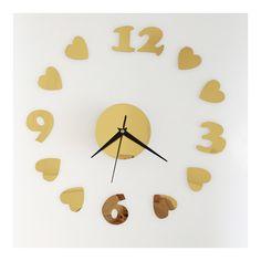 Love Heart Silent Casual Wall Clock Decoration Mirror golden