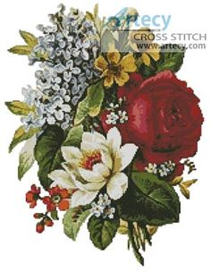 Artecy Cross Stitch. Flower Bouquet Cross Stitch Pattern to print online.