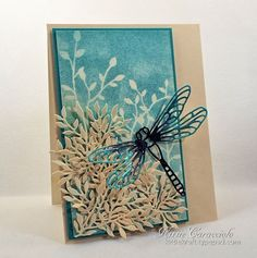 Card Making Ideas | Paper Crafts | Handmade Greeting Cards    Impression Obsession Large Dragonfly and Foliage.  See more details over on my blog at Kittie Kraft.