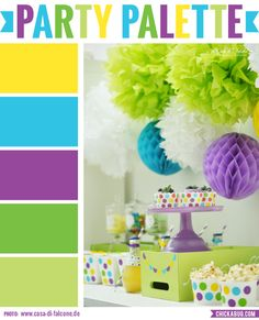 Party palette: Color inspiration in yellow, aqua, purple, and green #colorpalette