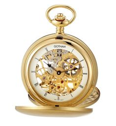 Gotham Mens GoldTone Double Cover Exhibition Mechanical Pocket Watch  GWC18801G ** To view further for this item, visit the image link.