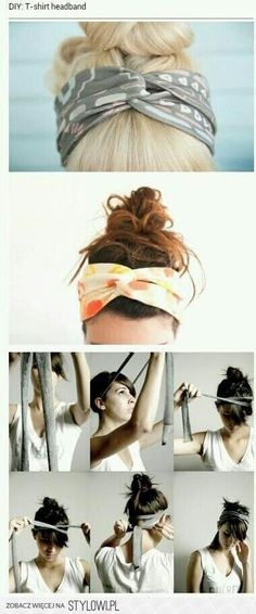 DIY Tshirt headband- no sewing, just cut and tie!