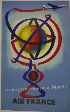 Air France - The Greatest World Network (Grand Reseau du Monde) - Vintage Airline Travel Poster by Jacques Nathan-Garamond - Master Art Print - x -- Awesome products selected by Anna Churchill Travel Ads, Airline Travel, Travel Items, Air Travel, Travel Photos, Air France, Belle Epoque, Poster Graphics, Poster Ads