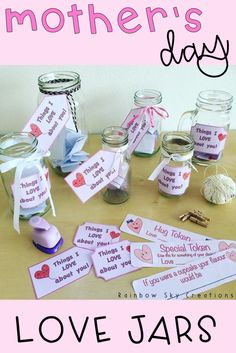 Check out this simple & meaningful DYI idea as a Mother's Day gift. Mother's will love this homemade present from kids & best of all it is creative, easy, sentimental, and can be completed at school at the last minute. The project involves a mason jar & filing it with wishes and messages for mom (mum). It also works for nanna, for aunts etc Click the link to save yourself time & grab the printable {elementary, Grade 2, Grade 3, Grade 4, 2nd grade, 3rd grade, 4th grade} #rainbowskycreations