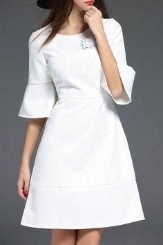 AdoreWe - Dezzal Rhinestone Bell Bottom Sleeve Dress - AdoreWe.com