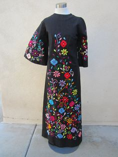Vintage 70's Hand Embroidered Black Dress with Bell Sleeves