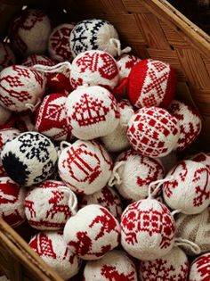 Knitted Christmas Balls - Patterns can be found in a purchased book.