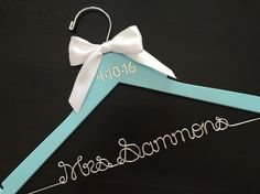 Brides Hanger / Breakfast at Tiffany's Themed Hanger by GetHungUp Personalized Hangers, Bride Hanger, Bridal Shower, Baby Shower, Breakfast At Tiffanys, Tiffany And Co, Robins, Something Blue, Wedding Planning