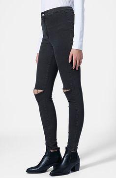 Topshop 'Joni' Ripped Skinny Jeans (Black)