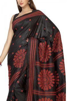 Buy Online Royal Black & Red Nakshi Kantha Tussar Soft Silk Saree . India's Best Ethnic Wears & Wares
