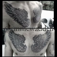Wings chest tattoo. Custom black and grey tattoo by Emme WADDELL