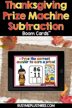 Thanksgiving Activity Two Digit Subtraction Math Boom Cards™ with No Regrouping for 2nd Grade