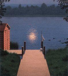 Steg im Mondlicht - Moonlit Jetty - 1992 Quint Buchholz Nature Aesthetic, Magritte, Aesthetic Pictures, Wall Collage, Aesthetic Wallpapers, Cute Wallpapers, Art Photography, Scenery, Illustration Art