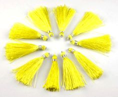 10 Pcs Beautiful Yellow Color Silk Tassel Beautiful Necklace Making Link 2  Long