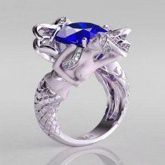 Cushion Cut Sapphire Rhodium Plated Sterling Silver Women's  Mermaid Engagement Ring