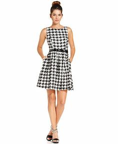 Jessica Simpson Dress, Sleeveless Houndstooth Belted A-Line - Dresses - Women - Macy's