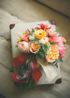 Coral Peonies, Garden Rose, Ranunculus and Billy Buttons bouquet