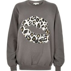 River Island Grey leopard lip print sweatshirt ($52) ❤ liked on Polyvore featuring tops, hoodies, sweatshirts, grey, t shirts / tanks, women, gray sweatshirt, crewneck sweatshirt, grey sweatshirt and grey crew sweatshirt