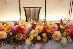 秋の装花 ダリアと紅葉、秋の実の階段装花 : 一会 ウエディングの花 Gothic Wedding, Glamorous Wedding, Wedding Event Planner, Wedding Events, Weddings, Tent Wedding, Wedding Table, Event Lighting, Wedding Lighting
