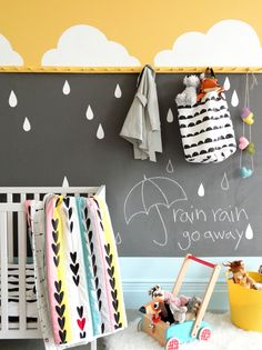 Like our Portland, Oregon skies in springtime, sunny ASPIRE .05 peeks out from behind grey clouds and makes us SMILE! In this cheerful nursery, raindrops appear gentle when drawn on a soft swatch of METAL .05 chalkboard paint. A solid strip of DREAM .02 on the trim reminds us that once you get above the clouds, there is nothing but blue sky. #1NurseryDesign