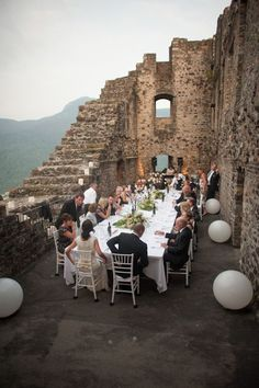 amazing wedding reception dinner in Morcote, Switzerland at Castello di Morcote, photos by Magnus Bogucki | junebugweddings.com