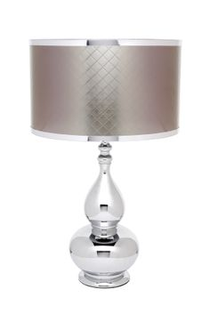 Work shiny materials, light and shape into your contemporary setting  with our beautiful Jeanie bottle shaped Lola Table Lamps. With their highly  mirrored finish, sensuous lines and striking silver diamond patterned shades their formality pairs well with metallics and velvets.