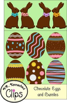 """Chocolate Eggs and Bunnies"" clip art. FREE for 1 week! (3/8-14/13) Follow me so you're updated when I add new products and freebies."
