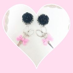 Scissor charm rose earrings by AccentAria on Etsy, $20.00