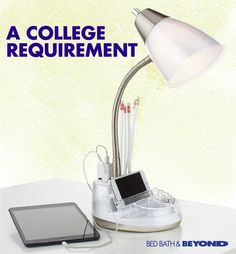 Get a lesson in multitasking and light up  your work or study space with a functional  organizer desk lamp.
