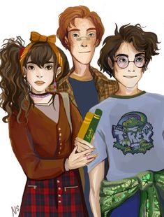 HP Trio - In which Harry wears Dudley's hand-me-downs from his dinosaur phase by nastjastark>and Ron is played be Benedict Cumberbatch Harry Potter Film, Fanart Harry Potter, Harry Potter Universal, Harry Potter Hogwarts, Art Adventure Time, Fanfiction, Welcome To Hogwarts, Art Manga, Kids Dress Up